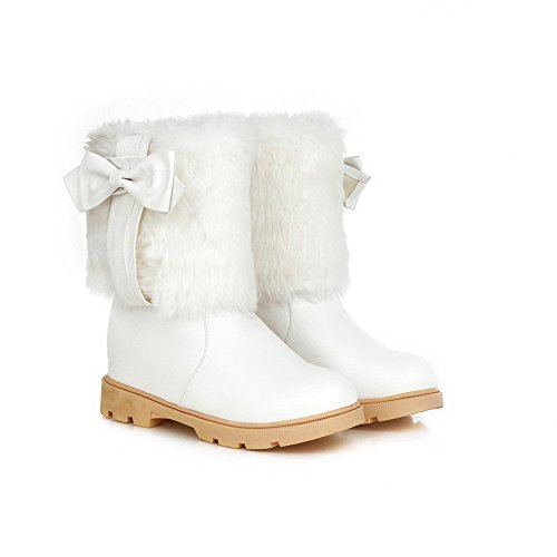 Toe top Pull Closed White Women's Boots Round Material on Kitten Soft Low Allhqfashion Heels Ew4fqRPAq