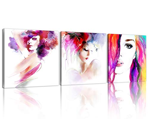 NAN Wind 3Pcs Modern Giclee Canvas Prints Abstract Watercolor Abstract Women Face Wall Art Painting Colorful Pictures Framed Artworks Paintings for Valentine Bathroom Decor for Home Decor