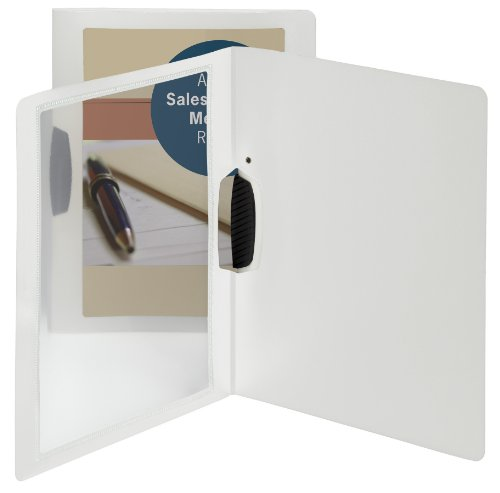 Smead Frame View Poly Report Cover with Swing Clip, Side Fastener, Up to 30 Sheets, Letter Size (Portrait Orientation), Oyster/Clear Front, 5 per Pack (86044)