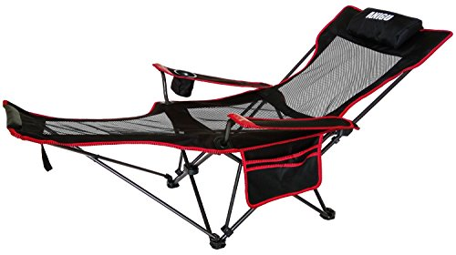 ANIGU Mesh Lounge Reclining Folding Camp Chair with Footrest (Black)