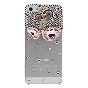 Buy Exquisite Design Goose with Crystal and Diamond Covered Transparent Hard Case with Nail Adhesive for iPhone 5/5S (Assorted Colors) , Blue