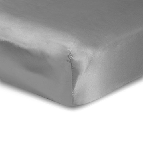 Wrinkle Satin - Sweet Dreams Silky Satin Fitted Sheets - Olympic Queen, Silver, Wrinkle Free and Stain Resistant Super Soft Luxury Satin Bed Sheets with Extra Deep Pockets