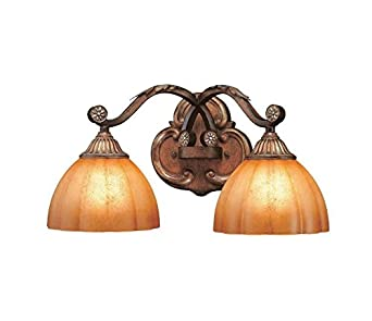 chateau deville collection deville walnut finish 2 light bath light