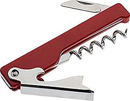 IRIS 2344 Sacacorchos Camarero c/Navaja, Acero Inoxidable, Rojo, 8 x 19.7 x 5 cm