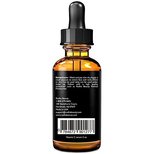 Radha Beauty Vitamin C Serum for Face, 2 fl. oz - 20% Organic Vitamin C + E + Hyaluronic Acid for Anti-Aging, Wrinkles, and Fine Lines - For Radiant and Healthy Skin by Radha Beauty (Image #3)