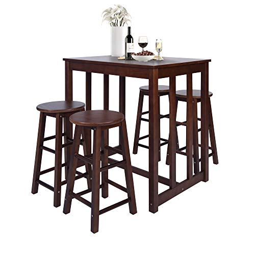 Merax 5-Piece Solid Wood Dining Table Set Kitchen High Pub Table Set with 4 Bar Stools (Walnut)