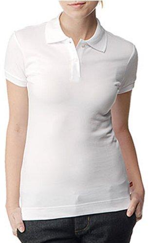 (Dickies Girl Juniors Short Sleeve 2 Button Pique Polo,White,Medium)