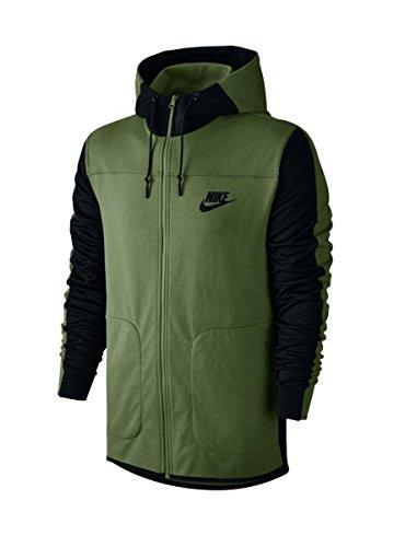 Nike Mens AV15 Fleece Full Zip Hoodie Palm Green/Black 804852-387 Size X-Large