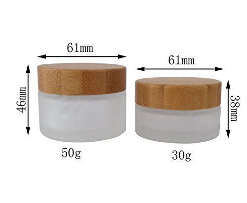 (Environmental Bamboo Cream Bottle-50ml Environmental Bamboo Lid Frosted Glass Bottle Cream Jars Empty Cosmetic Comtainer 1pcs (50ml))