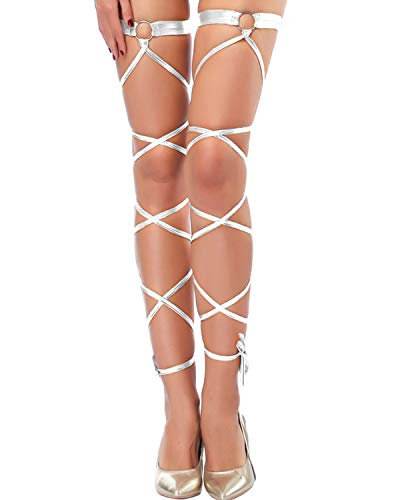 Seevy Women's Sexy Shiny Metallic Leg Wraps for Raves Dancing Music Festivals Club Wear -