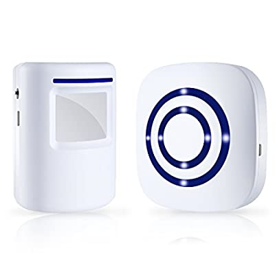 EOWJEED Wireless Driveway Alert, Home Security Driveway Alarm, Visitor Door Bell Chime with 1 Plug-in Receiver and 1 PIR Motion Sensor Detector Alert System, Quality Sound and LED, 38 Chime Tunes