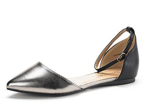 DREAM PAIRS Women's Flapointed-New Black Pewter D'Orsay Ballet Flats Shoes - 9 M US