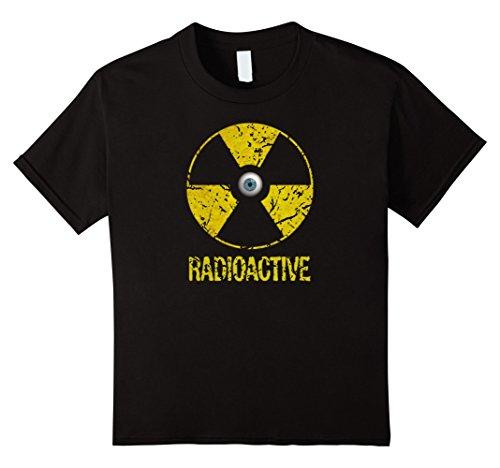 Kids Spooky Vintage Radioactive symbol w/ Eyeball Halloween shirt 12 Black (Fallout Halloween Costume)