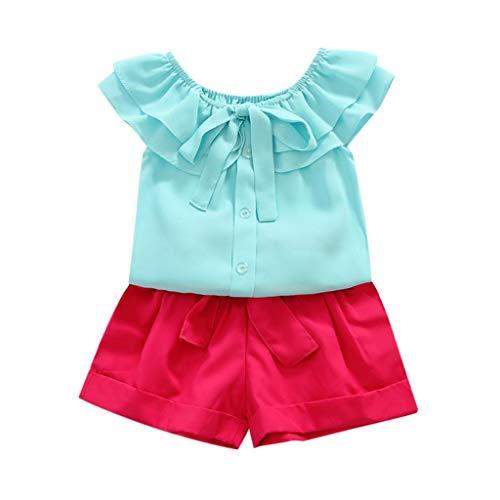 Price comparison product image MOGOV 2PCS Baby Girls Summer Solid Ruffles Off Shoulder Tops Bow + Belt Shorts Outfits Set Sky Blue