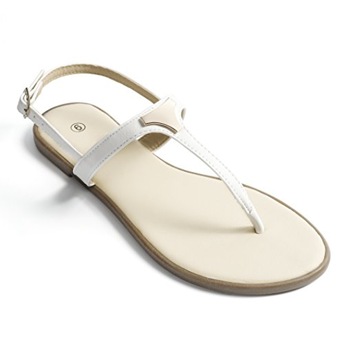 Navy Dress White Shoes (Fasehold Fashion Triangle Metal Flat Sandals for Women White 06)