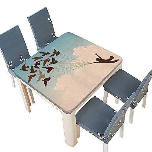 PINAFORE 100% Polyester, Eco-Friendly Safe Silhouette d'un garçon porté par des Pigeons Spillproof Fabric Tablecloth 29.5 x 29.5 INCH (Elastic -