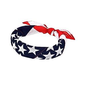 Maxdot American Flag Bandanas USA Flag Headband Kerchief Unisex Cowboy Bandanas Patriotic Accessories