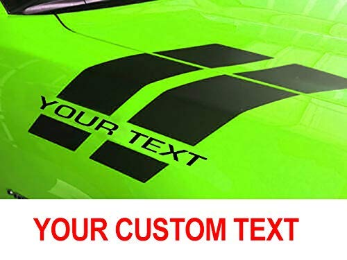 Your own CUSTOM TEXT Hash Stripes compatible for Dodge Charger Chellenger Durango Jeep Chrysler 392 Hemi 2014 2015 2016 2017 for hood fender (MULTI-COLOR)