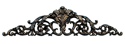 Hickory Manor House Open Leaf Acanthus Overdoor Decor, Black/Gold/Silver