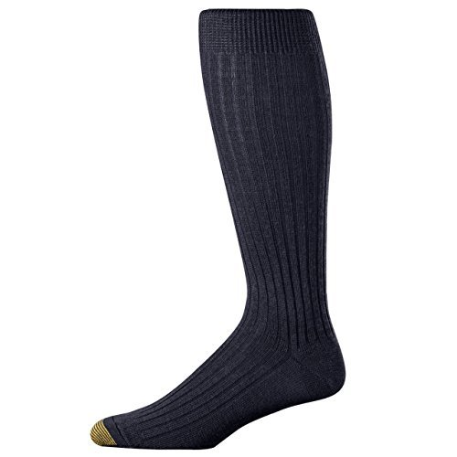 Gold Toe Men's Windsor Wool-Blend Over-the-Calf Dress Sock - 2 pk (6 pairs) 10-13 - Black (Pack of 3) Cotton Blend Dress Socks