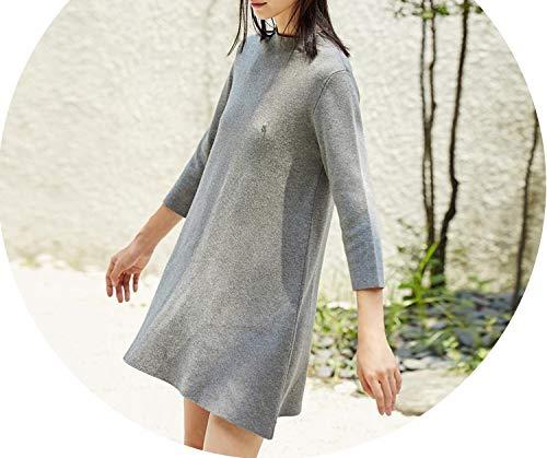 (Sweater Dresses Mini Women Winter Solid O-Neck Soft Dresses,Gray Winter Dress,L)