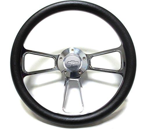 1974 - 1994 Chevy C/K Series Pick-Up Truck Black Steering Wheel, Billet Adapter (Chevy Truck Steering Wheel)