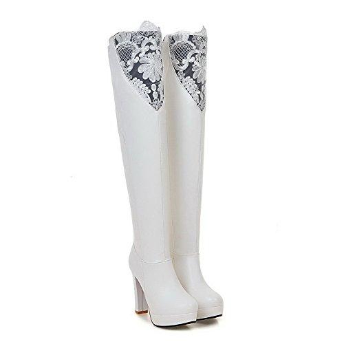 VogueZone009 Damen Hoher Absatz Hoch-Spitze Rein Ziehen auf Stiefel, Weiß, 34