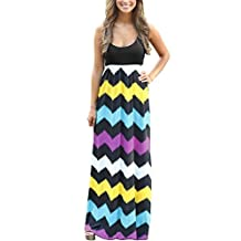 BellyLady Womens Summer Beach Sleeveless Zigzag Striped Maxi Long Vest Dress