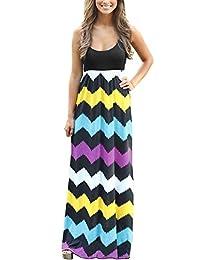 BellyLady Womens Beach Summer Boho Sleeveless Zig Zag Print Striped Maxi Dress