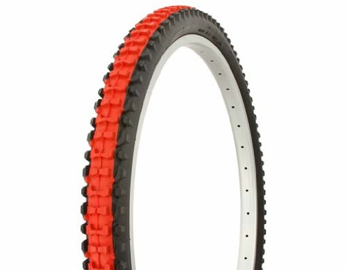 Duro Knobby Tread Mountain Bike Tire 26in x 2.10in, Red Center