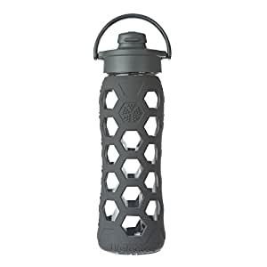Lifefactory 22-Ounce BPA-Free Glass Water Bottle with Flip Cap and Silicone Sleeve, Carbon