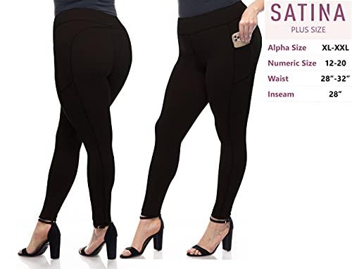 SATINA High Waisted Yoga Leggings with Pockets Super Soft | Reg & Plus Size (Plus Size, Black)
