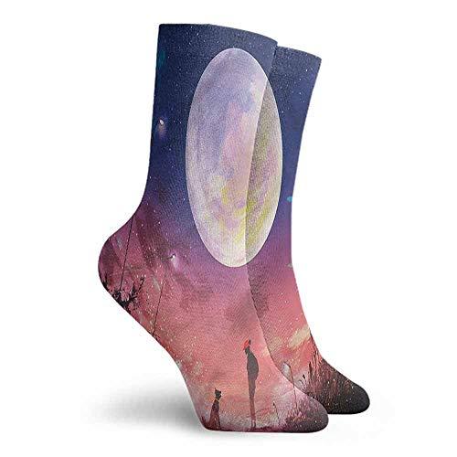 Novelty Socks for Men and Women Fantasy Dog under Huge Moon Hiking Walking Socks -