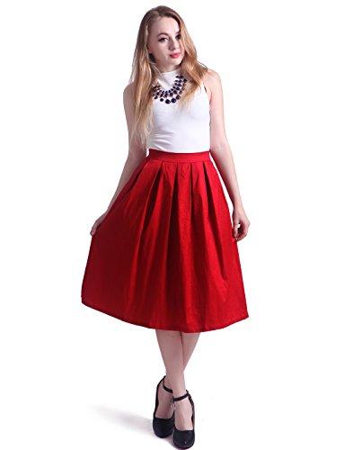HDE Women's High Waist A Line Street Skirt Pleated Flared Full Midi Skirt (Dark Red, L)