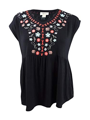 (Style & Co. Womens Embroidered Cap Sleeve Blouse Black)