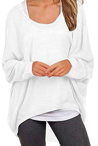 - UGET Women's Sweater Casual Oversized Baggy Off-Shoulder Shirts Batwing Sleeve Pullover Shirts Tops Asia S White