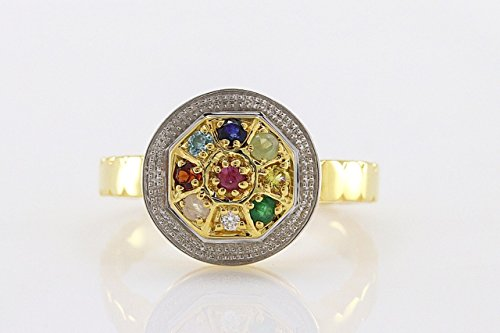 Saitong Brand Ring Matte Round, The Eight Empowering Compass & Precious Gems, Beautiful Memory Ring for Women (Gold, 6.5)