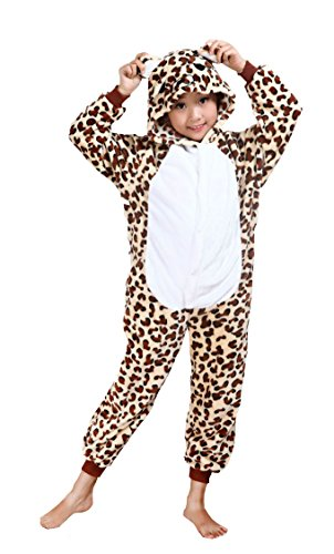 Cliont Kids Animal Onesie Cheetah Pyjamas Kigurumi Christmas Child Sleepwear Costume Anime Cosplay, Brown, 125 (Height -