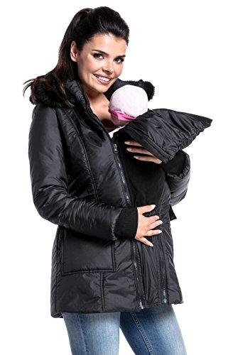Zeta Ville - Womens maternity padded jacket removable panel babywearing - 449c (Black, US 10, XL) by Zeta Ville Fashion