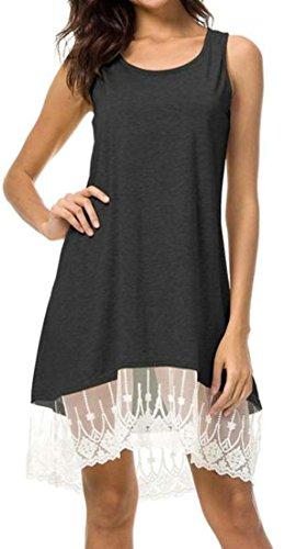 Lace Fit Hem Tank Cromoncent Summer Dress Sleeveless Women Grey Loose Black Solid 6ttwRaqY