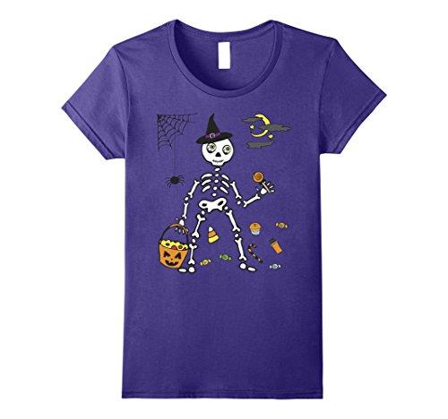 Womens Candy Skeleton Shirt Funny Women or Kids Halloween Gift XL Purple -