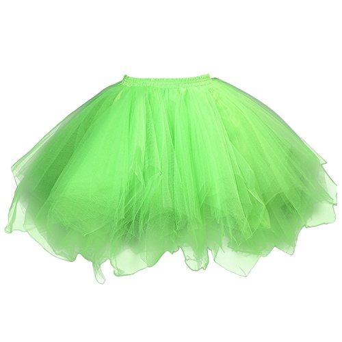 Unterrock Grün 50er Feoya Kurz Unterkleid Damen Fluoreszierend Mehrschichtige Party Ballett Petticoat Tütü Retro Minirock Tutu Tanzkleid Tüllrock Cosplay