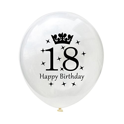 10PCS/set White Balloons 12'' Latex Balloons 18th 21th 30th 40th 50th 60th Wedding Anniversary Party Baby Shower Birthday Decoration Gessppo (18TH) -