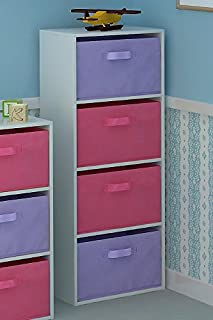 Home Source Tier Toy Storage Unit Kids Chest of 4 Canvas Drawers for Bedroom or Playroom & Home Source 3 Tier Toy Storage Unit Kids Chest of 3 Canvas Drawers ...