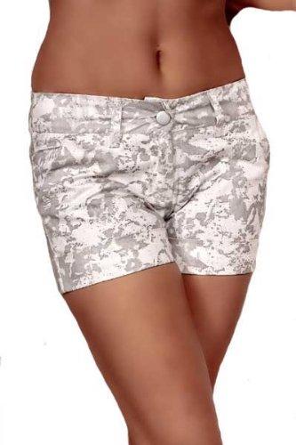 Damen Shorts weiß grau kurze Hose, Größe:M
