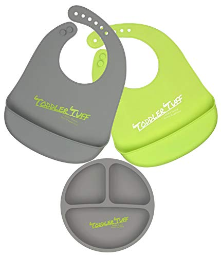Toddler Tuff Waterproof Silicone Bibs and Plate Set of 3 | Silicone Baby Bib Easily Wipes Clean | Stain Free, Durable, and Adjustable | Fast and Easy Meal Time | (Green Bib, Gray Bib, Gray Plate)