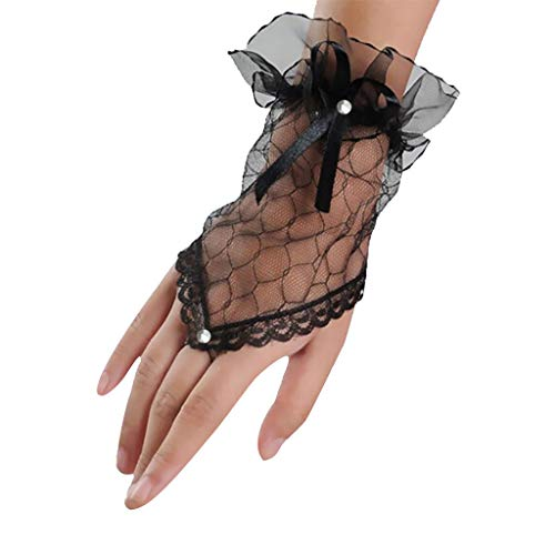 Tantisy ♣↭♣ Women Lace Fingerless Rhinestone Bridal Gloves for Wedding Party Prom Opera Ladies Evening Dress Gloves Black