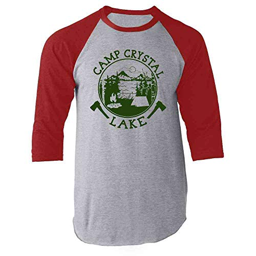 Camp Crystal Lake Counselor Shirt Horror Costume Staff 80s Movie Red S Raglan Baseball Tee ()