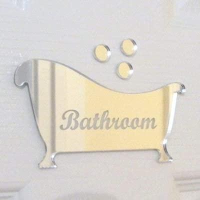 Amazon.com: Grabado Baño Y Burbujas Espejo Cartel para ...