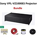 Sony VPL-VZ1000ES Ultra-Short Throw 4K HDR Home Theater Projecto Bundled with (3) Banana Plugs-5Pairs + (1) 6 Meter Subwoofer Cable + (2 Ceiling Cable 100Ft + (4) 6.5
